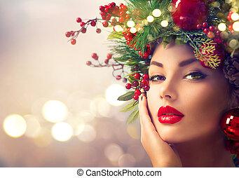 feriado christmas, maquilagem, closeup