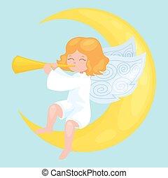 feriado christmas, voando, anjo, com, asas, e, dourado, trompete, ligado, lua, semelhante, símbolo, em, cristão, religião, ou, ano novo, vetorial, ilustração