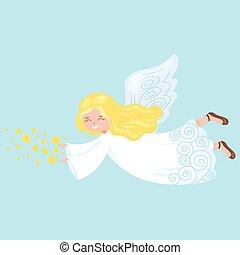 feriado christmas, voando, anjo, com, asas, e, estrelas, semelhante, símbolo, em, cristão, religião, ou, ano novo, vetorial, ilustração