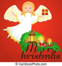 feriado christmas, voando, anjo, com, asas, e, presentes, caixa, semelhante, símbolo, em, cristão, religião, ou, ano novo, vetorial, ilustração