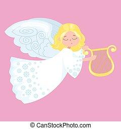 feriado christmas, voando, feliz, anjo, com, asas, semelhante, símbolo, em, cristão, religião, ou, ano novo, vetorial, ilustração