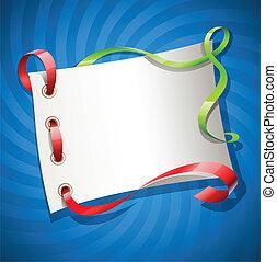 feriado, cinta, saludos, tarjeta