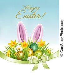 feriado, coelho, coloridos, primavera, ovos, fundo, ears., flores, bunny easter, vector.
