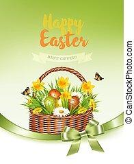 feriado, coloridos, obtendo, primavera, ovos, basket., vector., flores, páscoa, cartão
