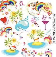 feriado, conjunto, verano, icono