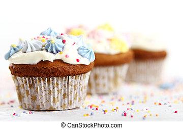 feriado, cupcakes, blanco, plano de fondo