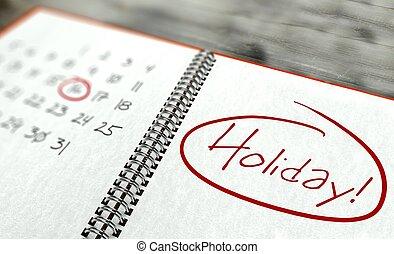 feriado, día, concepto, calendario, importante