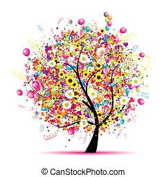 feriado, divertido, feliz, árbol, globos