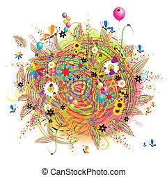 feriado, divertido, globos, tarjeta, feliz