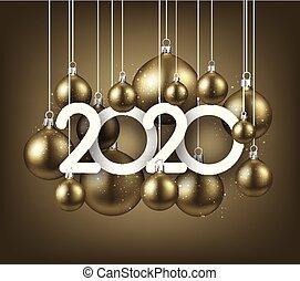 feriado, dourado, natal, realístico, numbers., novo, feliz, 2020, ilustração, bolas, year.