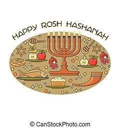 feriado, elements., rosh, judeu, feliz, card., desenho, hashanah