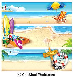feriado, en, playa