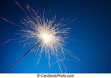 feriado, fiesta, sparkler