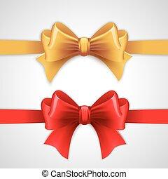 feriado, fita, vermelho, arco ouro