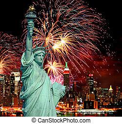 feriado, fuegos artificiales, estatua, libertad