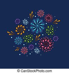 feriado, fuegos artificiales, ilustración