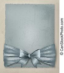 feriado, fundo, com, arco presente, e, fita, ligado, antigas, paper., vetorial, illustration.