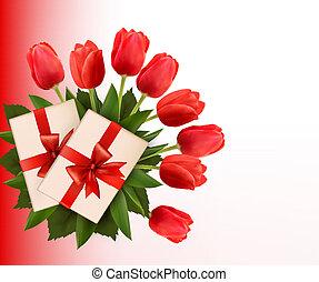 feriado, fundo, com, buquet, de, flores vermelhas, e, presente, box., vetorial, illustration.