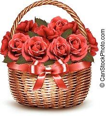 feriado, fundo, com, cesta, cheio, de, vermelho, roses., vector.
