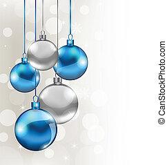 feriado, fundo, com, natal, bolas