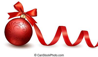 feriado, fundo, com, vermelho, arco presente, com, presente, ball., vetorial, illustration.