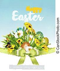 feriado, fundo, primavera, ovos, flowers., verde, vector., capim, páscoa, colofrul