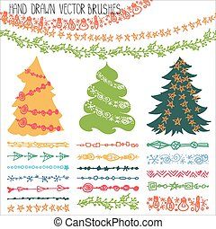 feriado, guirlanda, brushes.christmas, doodle, equipamento