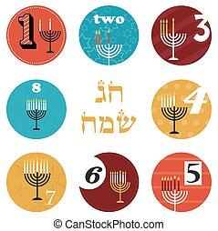 feriado, holiday., velas, hebreo, hanukkah, día, feliz, 8, ...