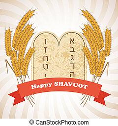feriado, ilustración, shavuot