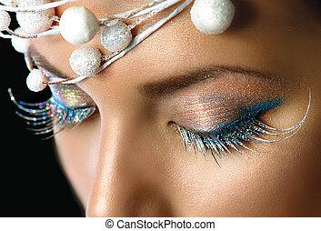 feriado inverno, maquiagem, closeup., parte christmas, olhos, maquilagem, detalhe