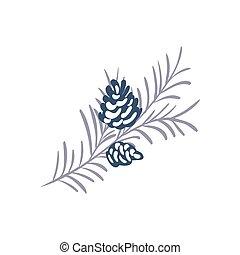 feriado inverno, text., ano, conceito, ramo, vetorial, natal, cone, feliz, lugar, elemento, seu, xmas, mão, design., novo, pinho, desenhado