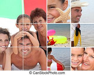 feriado, litoral, mosaico, família