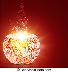 feriado, mosaico, recipiente de vela