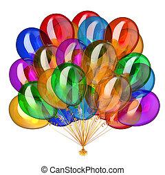 feriado, multicolored, partido, balões, decoração, hélio, grupo