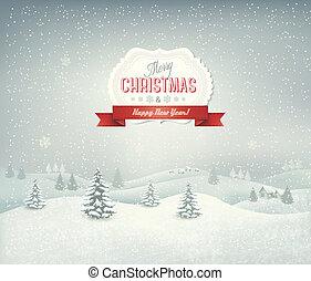 feriado, natal, fundo, com, paisagem inverno