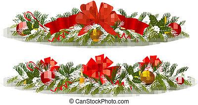 feriado, navidad, dos, garlands.