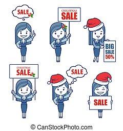 feriado, niñas, caracteres, empresa / negocio, banner., venta