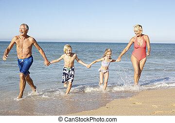 feriado, nietos, abuelos, juntos, el gozar, playa
