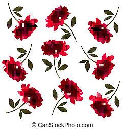 feriado, padrão, com, vermelho, bonito, roses., vetorial