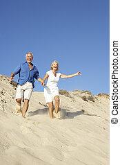 feriado, pareja, duna, abajo, corriente, 3º edad, el gozar, ...