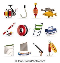 feriado, pesca, iconos