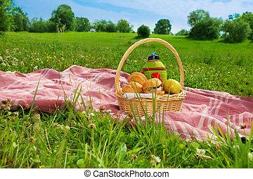 feriado, picnic, en el estacionamiento
