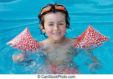 feriado, piscina, criança