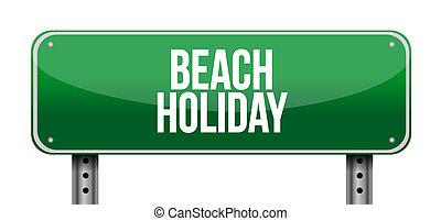 feriado, praia, estrada, ilustração, sinal