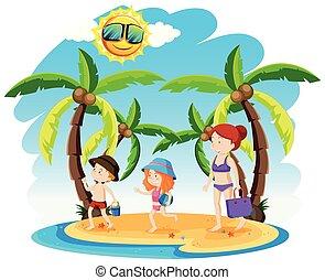 feriado, praia, família