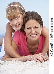 feriado praia, filha, relaxante, mãe