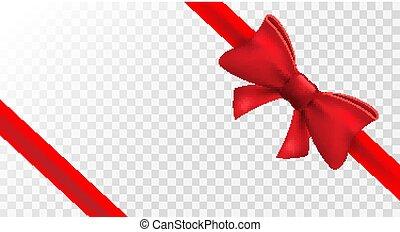 feriado, presente, isolado, fita, present., bow., arco, decoração, vetorial, desenho, vermelho, elemento, cartão