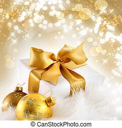 feriado, r, fundo, presente, ouro