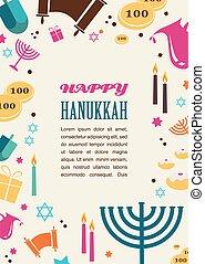 feriado, símbolos, hanukkah, judío, ilustraciones, famoso