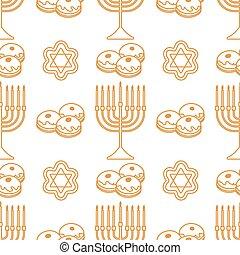 feriado, seamless, vector, judío, patrón, hanukkah